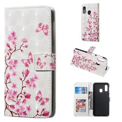 Butterfly Sakura Flower 3D Painted Leather Phone Wallet Case for Samsung Galaxy A20e