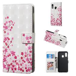 Cherry Blossom 3D Painted Leather Phone Wallet Case for Samsung Galaxy A20e