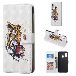Toothed Tiger 3D Painted Leather Phone Wallet Case for Samsung Galaxy A20e