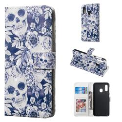 Skull Flower 3D Painted Leather Phone Wallet Case for Samsung Galaxy A20e