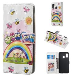 Rainbow Owl Family 3D Painted Leather Phone Wallet Case for Samsung Galaxy A20e
