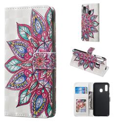 Mandara Flower 3D Painted Leather Phone Wallet Case for Samsung Galaxy A20e