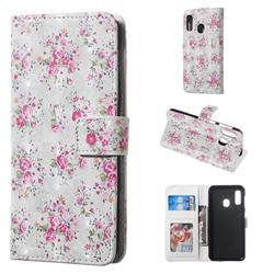 Roses Flower 3D Painted Leather Phone Wallet Case for Samsung Galaxy A20e