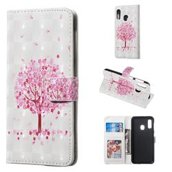 Sakura Flower Tree 3D Painted Leather Phone Wallet Case for Samsung Galaxy A20e