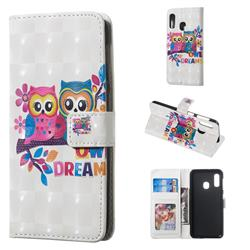 Couple Owl 3D Painted Leather Phone Wallet Case for Samsung Galaxy A20e