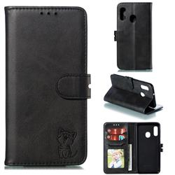 Embossing Happy Cat Leather Wallet Case for Samsung Galaxy A20e - Black