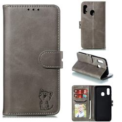 Embossing Happy Cat Leather Wallet Case for Samsung Galaxy A20e - Gray
