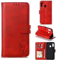 Embossing Happy Cat Leather Wallet Case for Samsung Galaxy A20e - Red