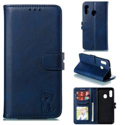 Embossing Happy Cat Leather Wallet Case for Samsung Galaxy A20e - Blue
