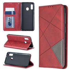 Prismatic Slim Magnetic Sucking Stitching Wallet Flip Cover for Samsung Galaxy A20e - Red