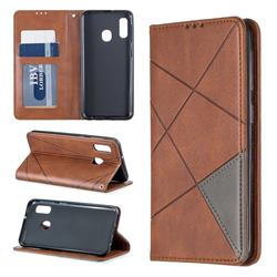 Prismatic Slim Magnetic Sucking Stitching Wallet Flip Cover for Samsung Galaxy A20e - Brown