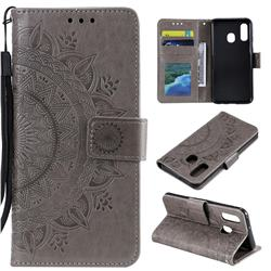 Intricate Embossing Datura Leather Wallet Case for Samsung Galaxy A20e - Gray