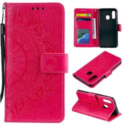 Intricate Embossing Datura Leather Wallet Case for Samsung Galaxy A20e - Rose Red