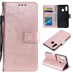 Intricate Embossing Datura Leather Wallet Case for Samsung Galaxy A20e - Rose Gold