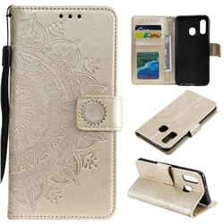 Intricate Embossing Datura Leather Wallet Case for Samsung Galaxy A20e - Golden