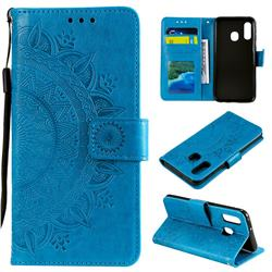 Intricate Embossing Datura Leather Wallet Case for Samsung Galaxy A20e - Blue