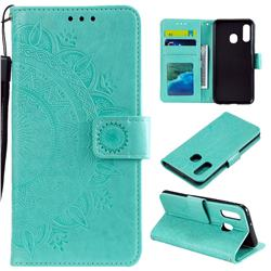 Intricate Embossing Datura Leather Wallet Case for Samsung Galaxy A20e - Mint Green