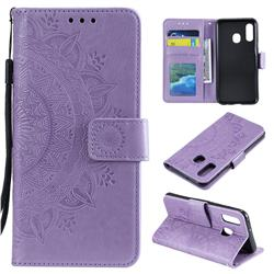 Intricate Embossing Datura Leather Wallet Case for Samsung Galaxy A20e - Purple