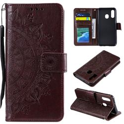 Intricate Embossing Datura Leather Wallet Case for Samsung Galaxy A20e - Brown