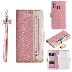 Luxury Lace Zipper Stitching Leather Phone Wallet Case for Samsung Galaxy A20e - Pink