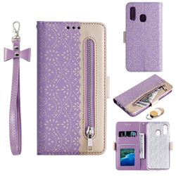 Luxury Lace Zipper Stitching Leather Phone Wallet Case for Samsung Galaxy A20e - Purple