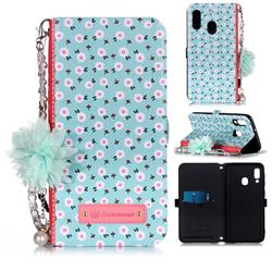Daisy Endeavour Florid Pearl Flower Pendant Metal Strap PU Leather Wallet Case for Samsung Galaxy A20e