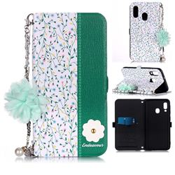 Magnolia Endeavour Florid Pearl Flower Pendant Metal Strap PU Leather Wallet Case for Samsung Galaxy A20e