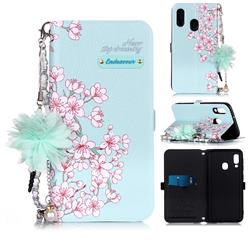 Cherry Blossoms Endeavour Florid Pearl Flower Pendant Metal Strap PU Leather Wallet Case for Samsung Galaxy A20e