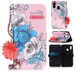 Pink Blue Rose Endeavour Florid Pearl Flower Pendant Metal Strap PU Leather Wallet Case for Samsung Galaxy A20e