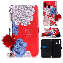 Red Chrysanthemum Endeavour Florid Pearl Flower Pendant Metal Strap PU Leather Wallet Case for Samsung Galaxy A20e
