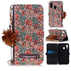 Impatiens Endeavour Florid Pearl Flower Pendant Metal Strap PU Leather Wallet Case for Samsung Galaxy A20e