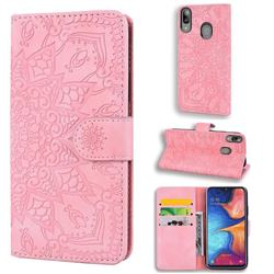Retro Embossing Mandala Flower Leather Wallet Case for Samsung Galaxy A20e - Pink