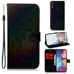 Laser Circle Shining Leather Wallet Phone Case for Samsung Galaxy A20e - Black