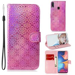 Laser Circle Shining Leather Wallet Phone Case for Samsung Galaxy A20e - Pink