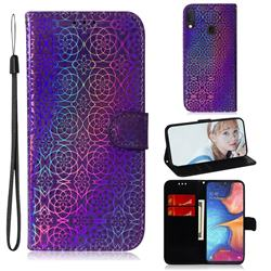 Laser Circle Shining Leather Wallet Phone Case for Samsung Galaxy A20e - Purple