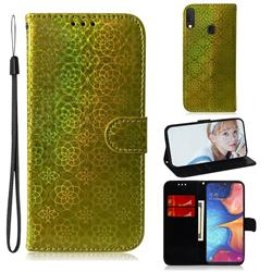 Laser Circle Shining Leather Wallet Phone Case for Samsung Galaxy A20e - Golden