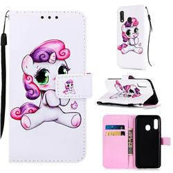 Playful Pony Matte Leather Wallet Phone Case for Samsung Galaxy A20e