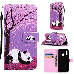 Cherry Blossom Panda Matte Leather Wallet Phone Case for Samsung Galaxy A20e