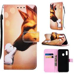 Hound Kiss Matte Leather Wallet Phone Case for Samsung Galaxy A20e
