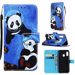 Undersea Panda Matte Leather Wallet Phone Case for Samsung Galaxy A20e