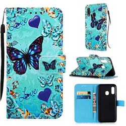 Love Butterfly Matte Leather Wallet Phone Case for Samsung Galaxy A20e