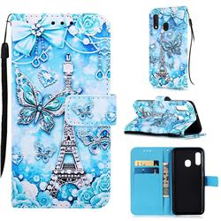 Tower Butterfly Matte Leather Wallet Phone Case for Samsung Galaxy A20e
