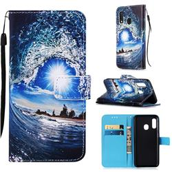 Waves and Sun Matte Leather Wallet Phone Case for Samsung Galaxy A20e