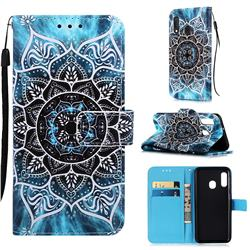 Underwater Mandala Matte Leather Wallet Phone Case for Samsung Galaxy A20e