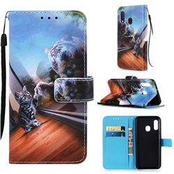 Mirror Cat Matte Leather Wallet Phone Case for Samsung Galaxy A20e