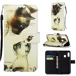 Cat Confrontation Matte Leather Wallet Phone Case for Samsung Galaxy A20e