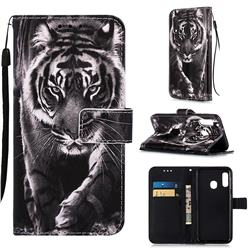 Black and White Tiger Matte Leather Wallet Phone Case for Samsung Galaxy A20e