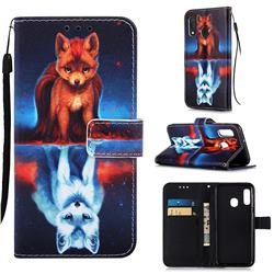 Water Fox Matte Leather Wallet Phone Case for Samsung Galaxy A20e