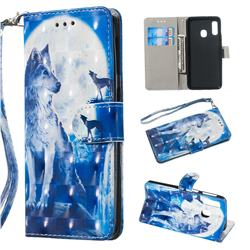 Ice Wolf 3D Painted Leather Wallet Phone Case for Samsung Galaxy A20e