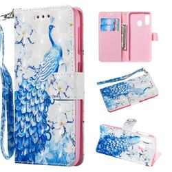 Blue Peacock 3D Painted Leather Wallet Phone Case for Samsung Galaxy A20e